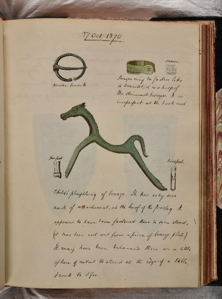 A page in Rev J. G. Joyces diary from the excavation, showing his drawing of the Silchester Horse