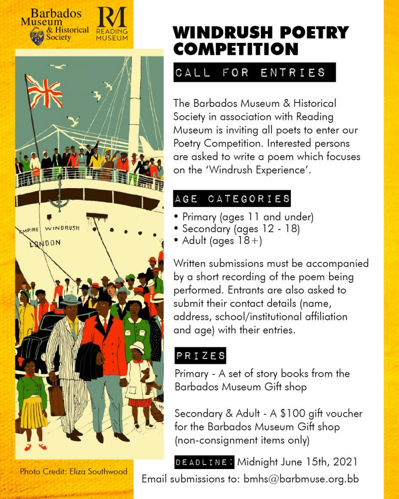 A poster for the Barbados Museum and Historical Society Windrush Day 2021 poetry competition.
