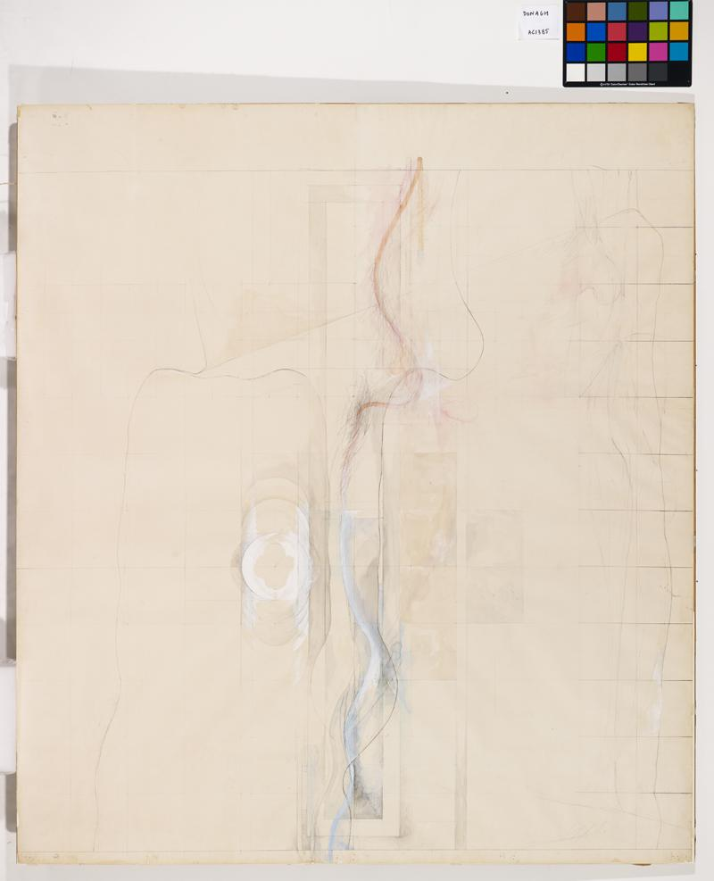 "Rita Donagh (b. 1939), Life Size (Transitional Drawing for ""Reflection on Three Weeks in May 1970""), 1971, Pencil and watercolour, 1720 × 1530 mm, Arts Council Collection, AC 1385. © Rita Donagh. All Rights Reserved, DACS 2020"
