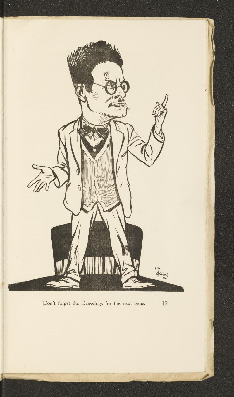 John Thomas Young Gilroy (1898–1985), Betts as Art Editor from The Royal College of Art Student Magazine, Vol.2 No. 7 (December 1923), p.19. © Estate of John Thomas Young Gilroy, courtesy of The Royal College of Art Archive