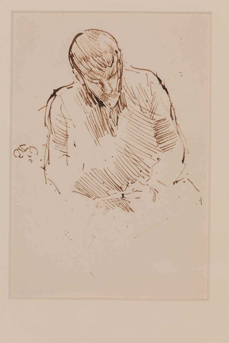 James Abbott McNeill Whistler (1834–1903), The Fellow Traveller (Study of Ronald Murray Philip), 1900–1901, Ink, 159 × 111 mm, University of Reading Art Collection, UAC/10519