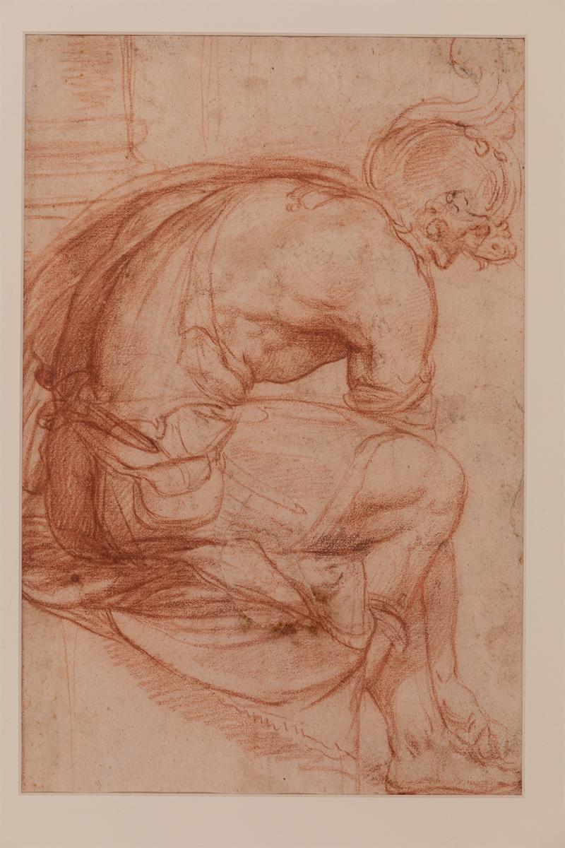 c16th Italian School, Seated Roman Soldier, Chalk, 355 × 255 mm, University of Reading Art Collection, UAC/10576