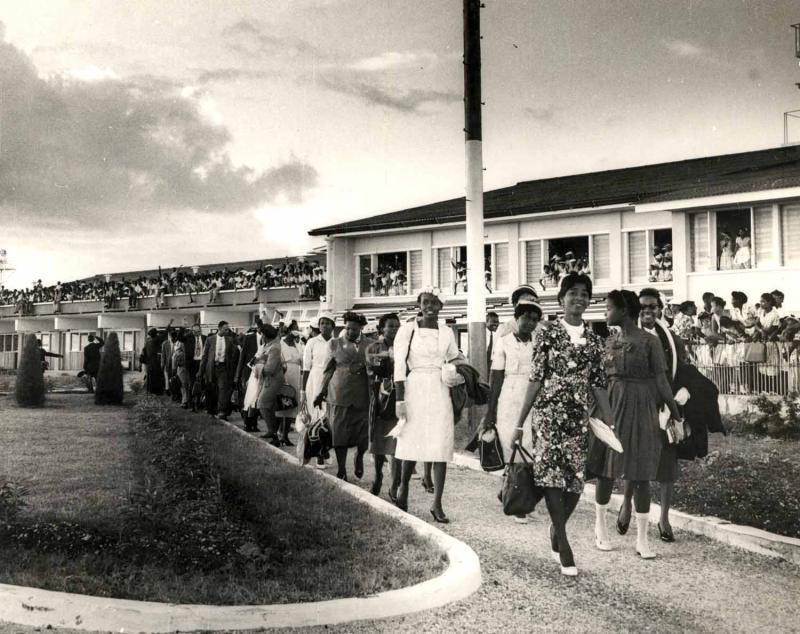 Cotton Workers for Lancashire and Railway Workers Leaving Terminal Building at Seawell, Courtesy of Barbados Government Information Services