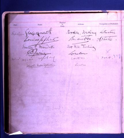 Image of the Huntley and Palmers factory guestbook. Wilde visited and signed it, listing his occupation as 'poet'!