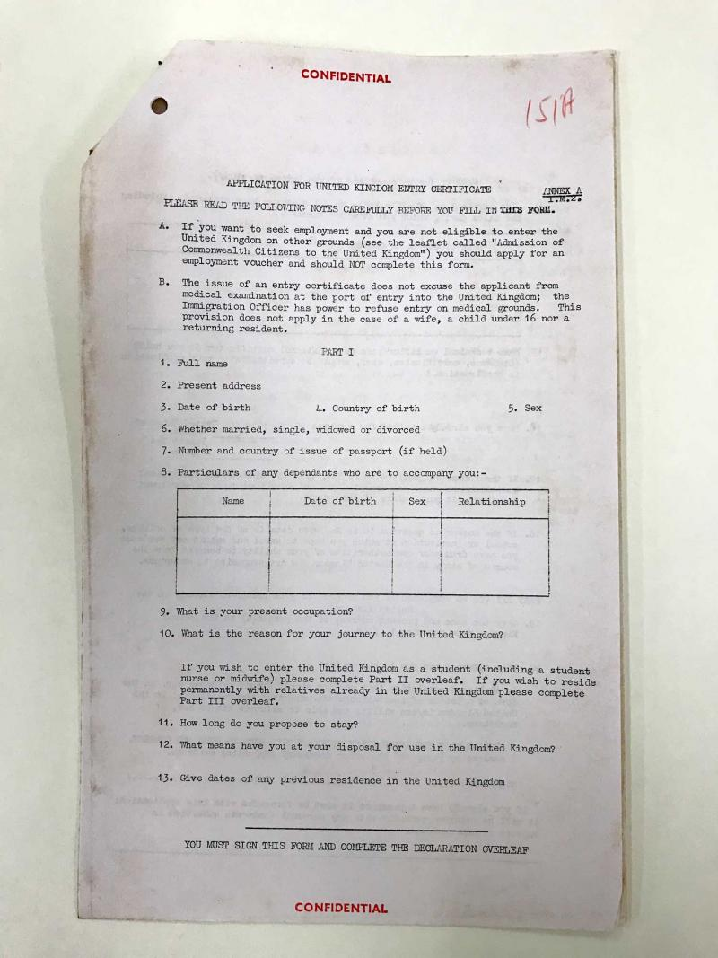 Application for UK Entry Certificate (WIFAC Collection)