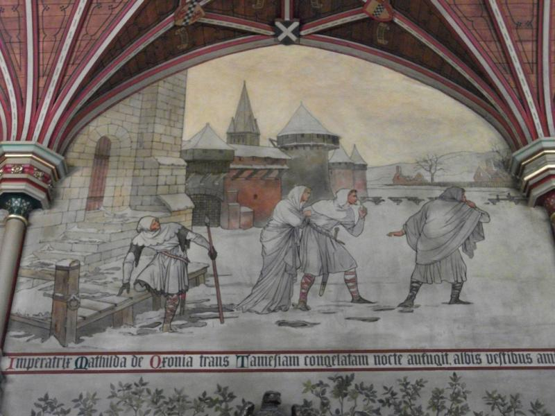 Wall painting showing Empress Matilda's escape across the frozen Thames