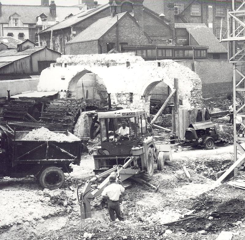 An image of the demolition of Abbey Mill in Reading