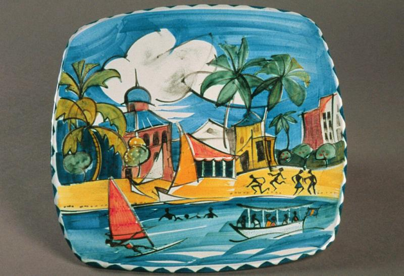 A beach scene in Barbados, made by Alan Caiger-Smith.