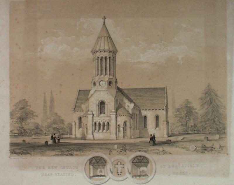 The New Church at Burghfield, near Reading, Berks', by W F Poulton, 1843