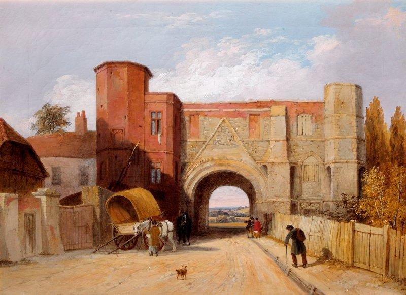 This oil on canvas painting depicts the Reading Abbey Gateway, looking northwards. The Abbey Gateway has long been a favourite subject for artists, and the museum collection includes many versions.