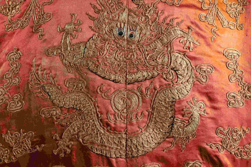 Detail of a 19th century dragon robe