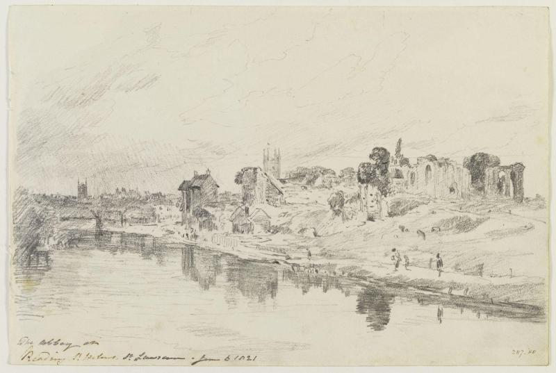 A view of Reading from the river by John Constable, 1821