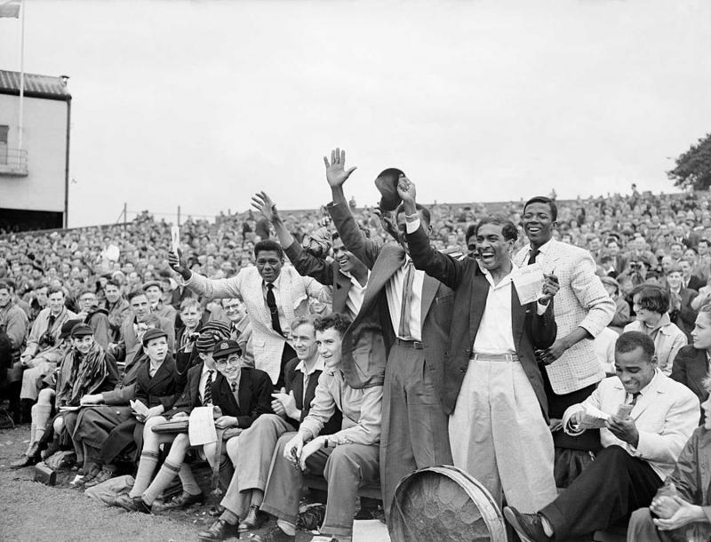 Cricket - Fourth Test - England v West Indies - Headingley - Second Day West Indies fans celebrate the removal of England's Tom Graveney from the crease (Photo by S&G/PA Images via Getty Images)