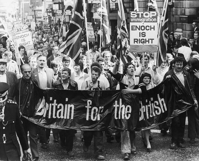 Britain For The British Smithfield meat porters march on the Home Office, bearing a petition which calls for an end to all immigration into Britain, 25th August 1972. (Photo by Keystone/Hulton Archive/Getty Images)