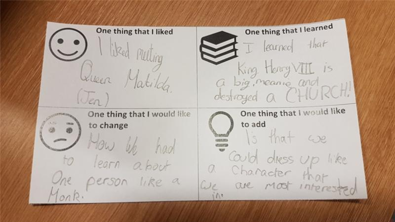 A child's written feedback from their visit