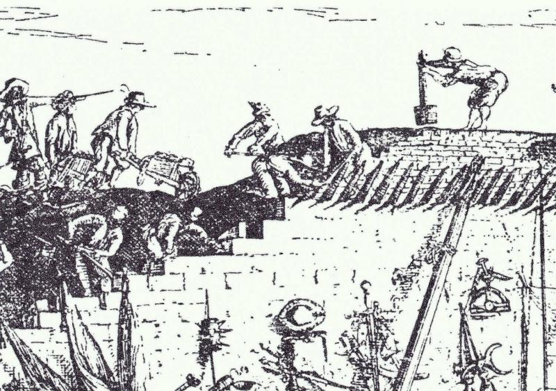 Drawing showing people building civil war fortifications