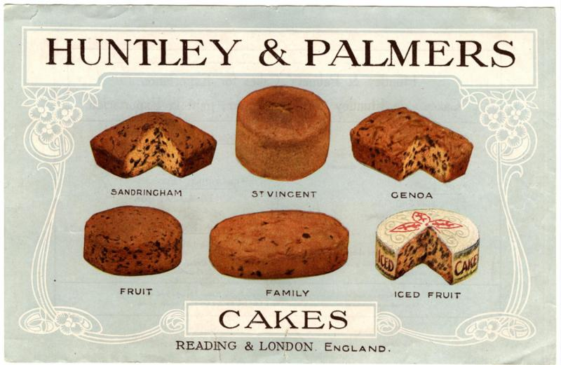 This Art Nouveau inspired design presents the Huntley & Palmers Sandringham, St Vincent, Genoa, Fruit, Family and Iced Fruit cakes. The price list on the reverse is in Spanish, 1910s