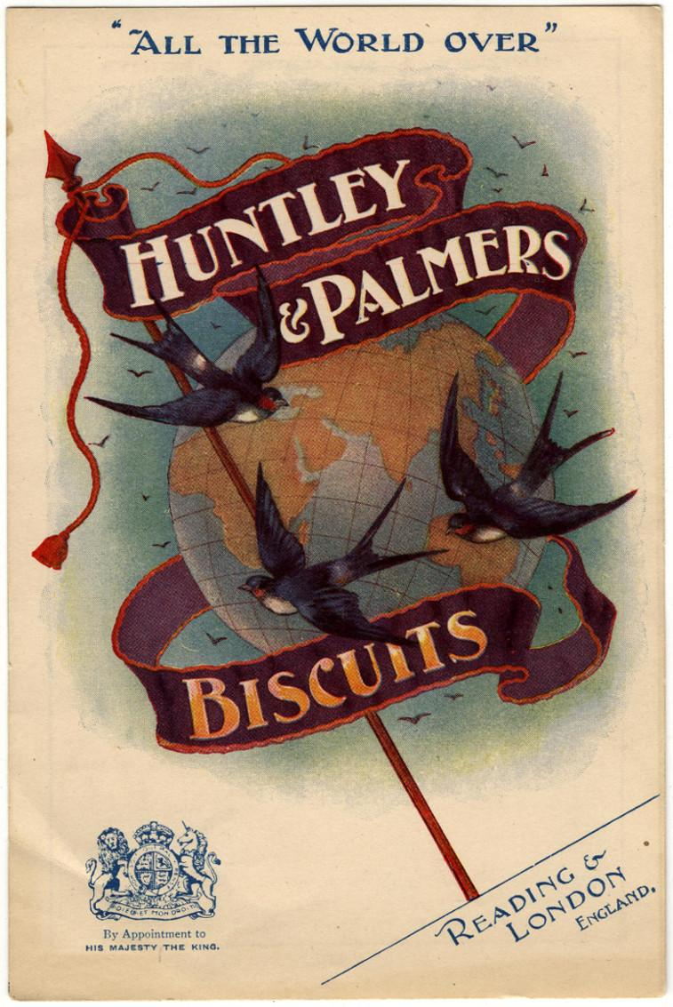 Advertising sheet celebrating the global recognition of Huntley & Palmers Reading Biscuits, 1902
