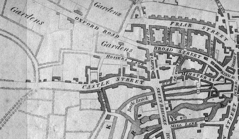 John Man's map of Reading 1813, shows Minster Street, St Mary's Butts and the Castle Street area