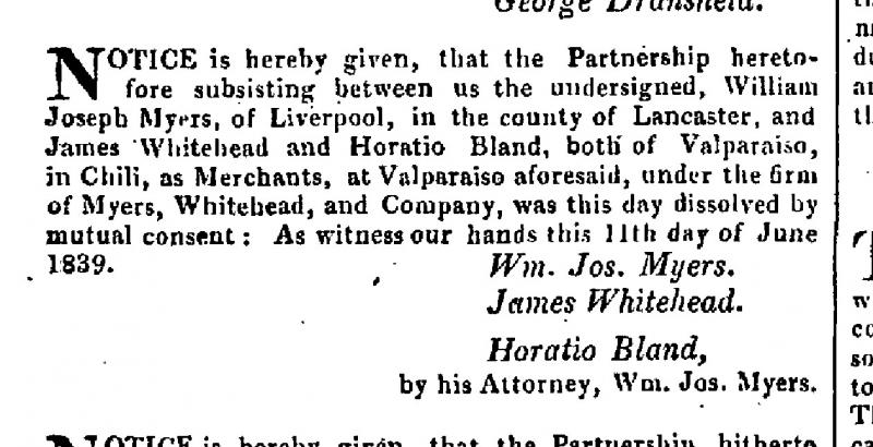 London Gazette 1840 notice dissolving Horatio Bland's partnership with Myers and Whitehead