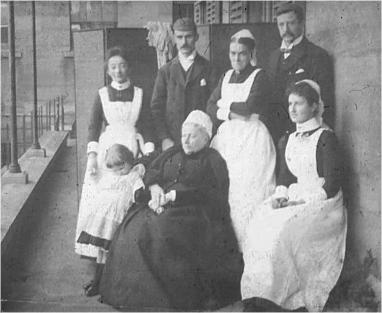 Miss Baster (seated) Royal Berkshire Hospital Matron, with other staff about 1892