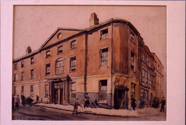 Old Crown Inn, Reading, Watercolour by Hanslip Fletcher 1917. REDMG : 1931.109.1 (c) Reading Borough Council, Reading Museum