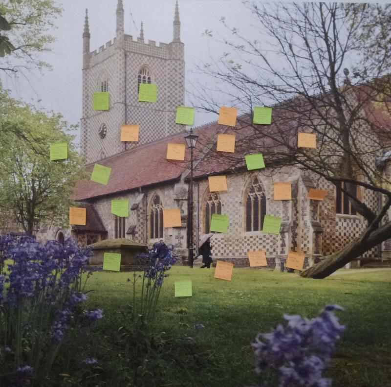 Post it notes on an image of St Mary's church