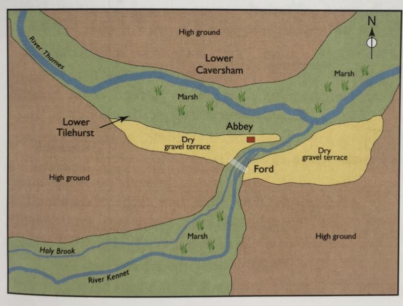 map of Reading on gravel terrace above the River Kennet