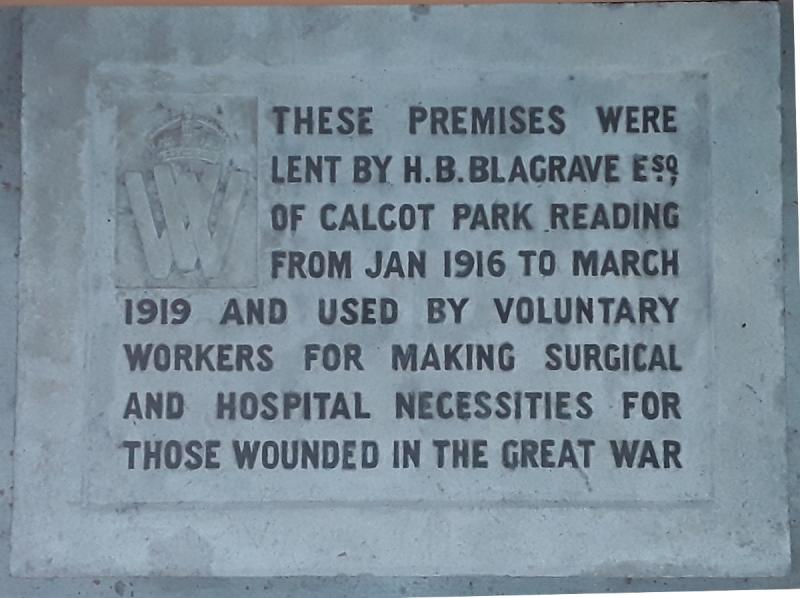 Inscribed stone plaque from the premises of the Reading War Hospital Depot