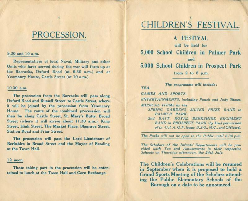 Official Programme of Ceremonies and Festivities in Reading 19th July 1919