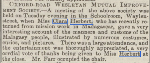 Reading Mercury image, from the 29th November 1890, mentioning Clara Herbert.