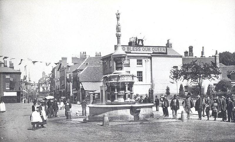 St Mary's Butts 1887, Queen Victoria Jubilee Fountain (Courtesy of Reading Library's Local Illustration Collection)