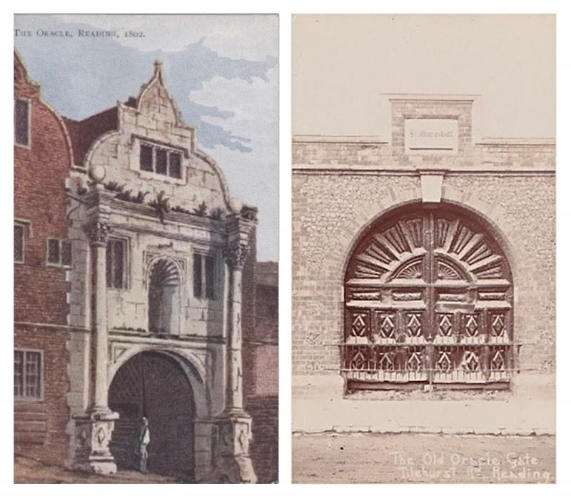 The Oracle 1802 (l); Oracle Gates, St Mary's Hill, Tilehurst Road (r) (Author)