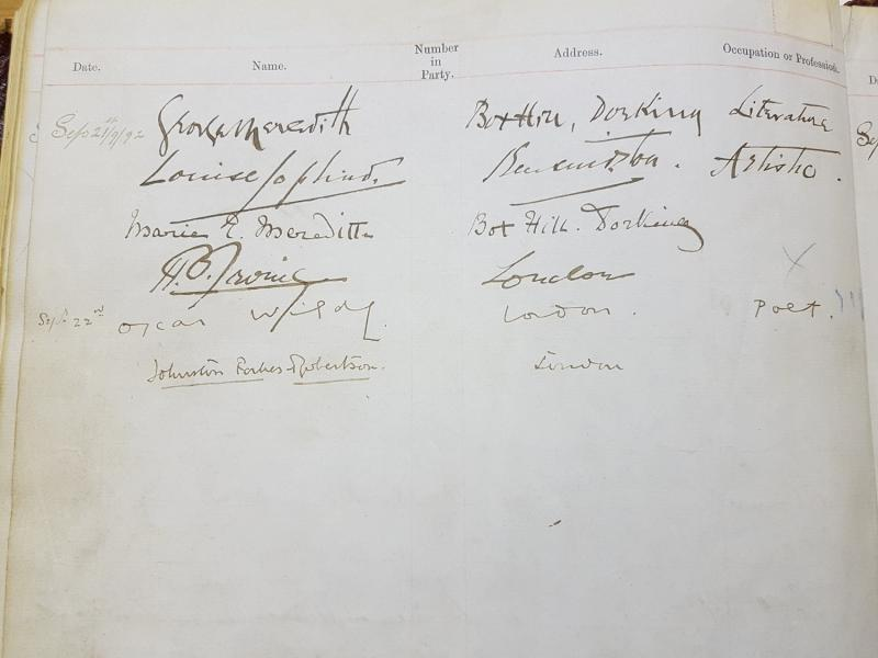 Huntley and Palmers Visitor Book signed by Oscar Wilde