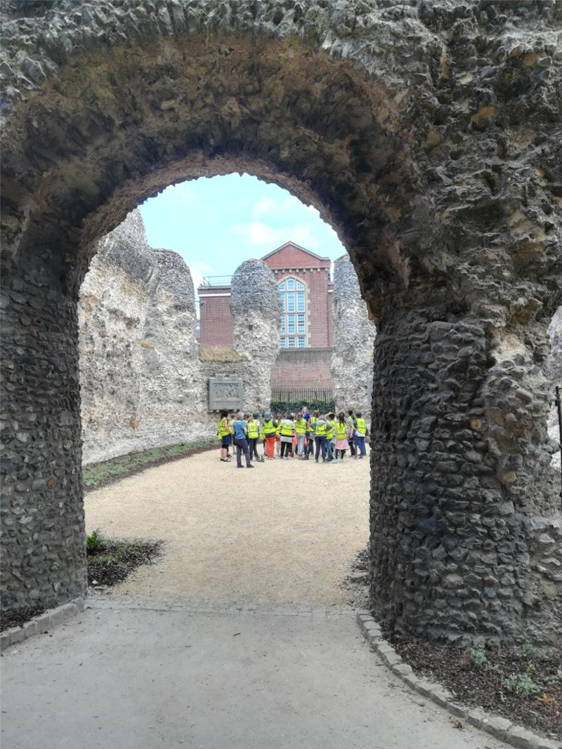 children in Abbey Ruins