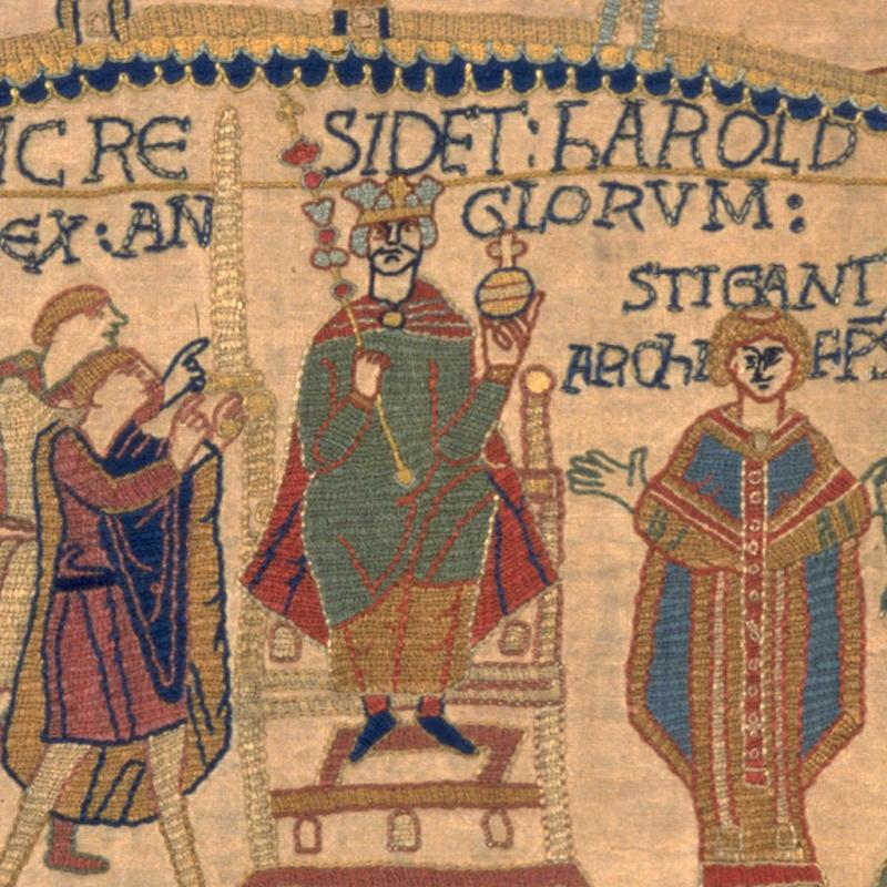 King Harold's coronation in our replica Bayeux Tapestry.