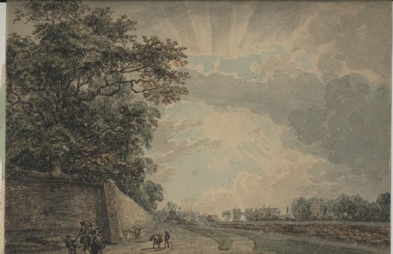 Reading Abbey and County Goal, watercolour by Paul Sandby
