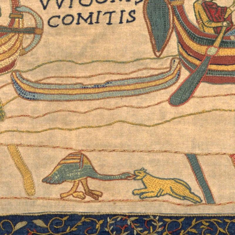 Crane and wolf from the border of our replica Bayeux Tapestry.