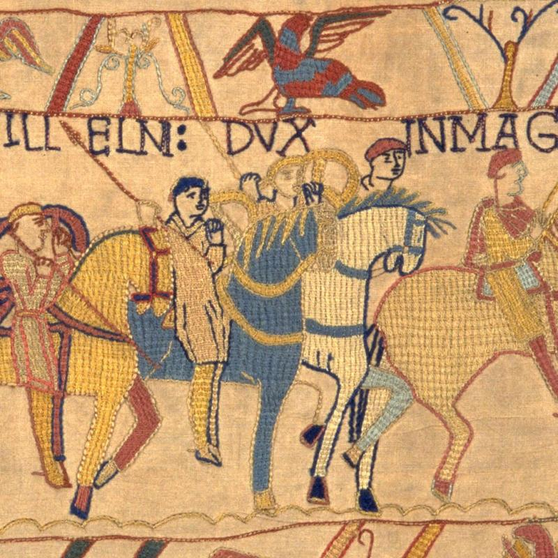 Image showing a head without a body in our Bayeux Tapestry.