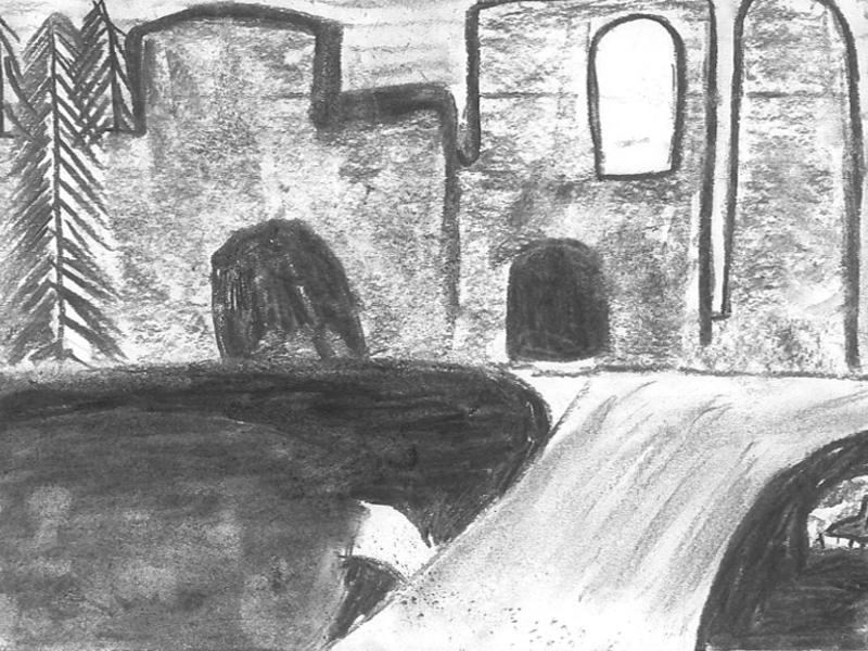 Charcoal drawing of Abbey Ruins