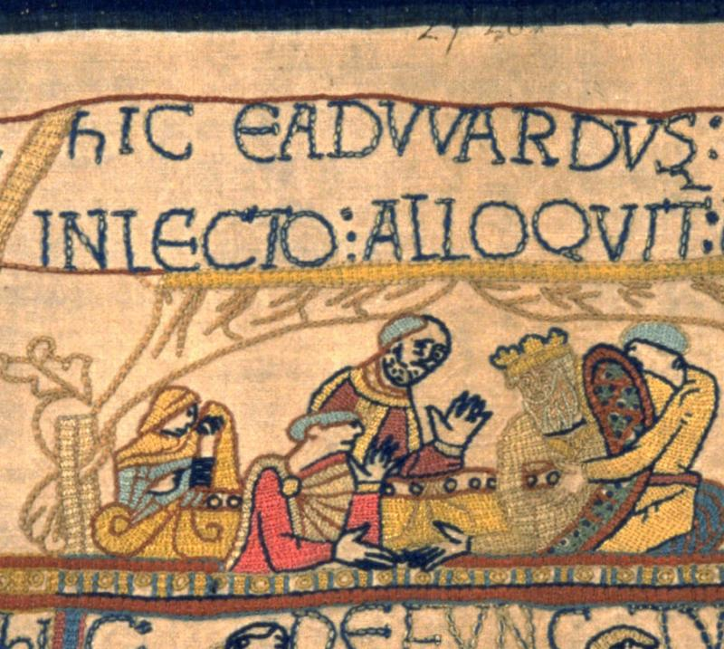Edith in our replica Bayeux Tapestry.