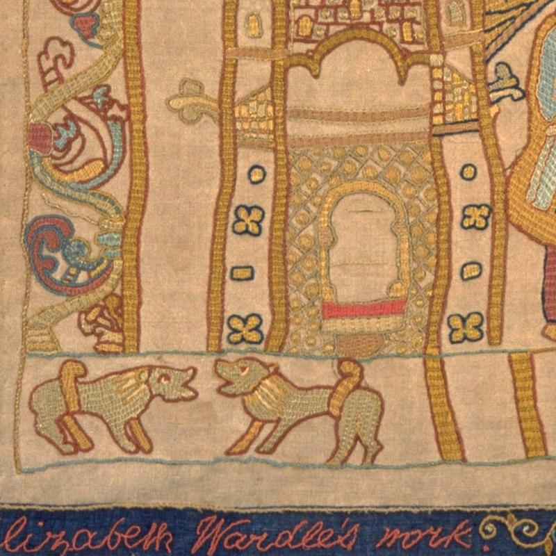 Elizabeth Wardle's signature in our replica Bayeux Tapestry.