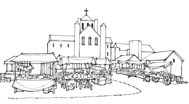 An artist's impression of a medieval fair in front of Reading Abbey's west front