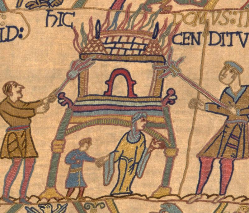 A woman fleeing in our replica Bayeux Tapestry.