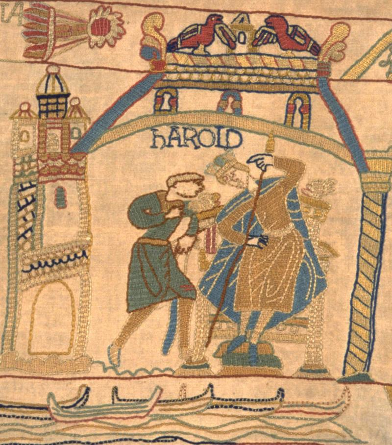 Harold Godwinson in our replica Bayeux Tapestry.