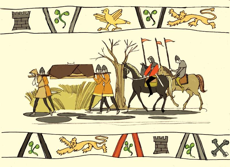 Henry I's body carried on bier along a muddy road. Stephen and followers riding behind.
