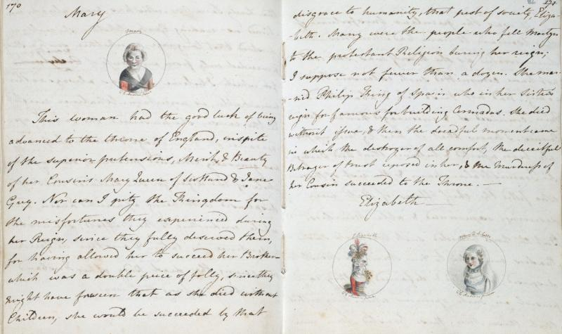 A page from 'The History of England' by a young Jane Austen