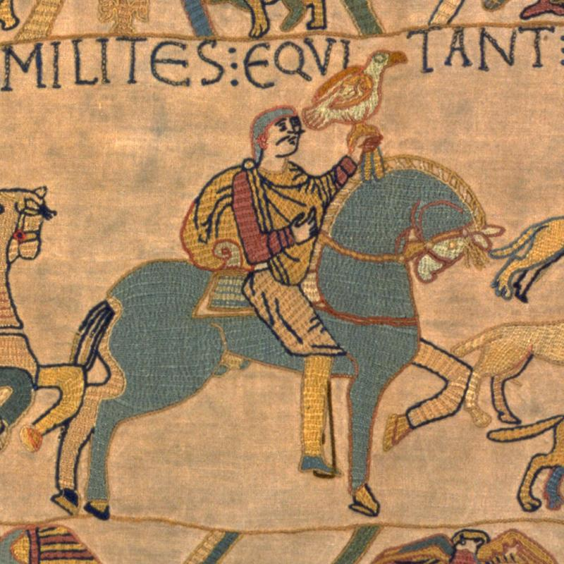Harold Godwinson, shown in the first scene of our replica Bayeux Tapestry.