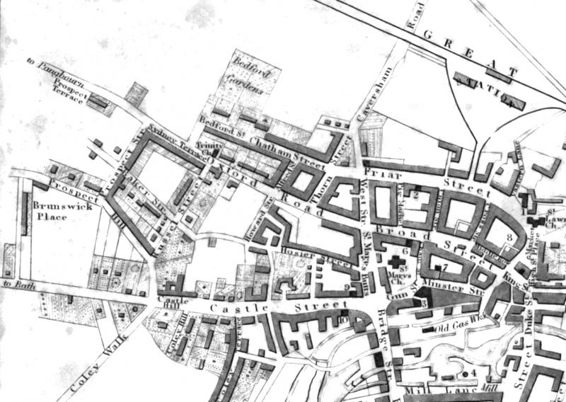 Oxford Road on 1840 map of Reading