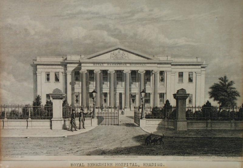 Engraving of Royal Berkshire Hospital, Reading. Drawn by William Fletcher, and engraved by William Willis